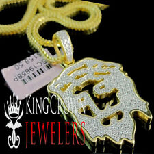 Men's New Designer Jesus Head Face Diamond Simulated Necklace Chain Yellow Gold