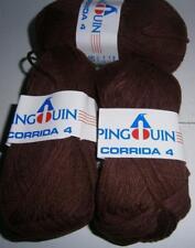 "PINGOUIN CORRIDA 4 - Lot of 10 Balls     ""chocolate brown"" 60% COTTON-40% A"