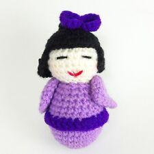 Mini Thread Crochet Japanese Doll Girl Miniature Purple Kimono Outfit Amigurumi