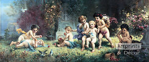 Cherubs At Play by H. Zabateri (Art Print of Vintage Art)