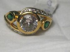 18Kt GEP Faux Gemstone Ring, size 6, Kunzite, Emerald Colored, signed ICON