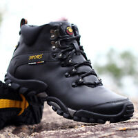 Winter Mens Fur Lined Hiking Boots Antiskid Warm Trekking Hunting Outdoor Shoes