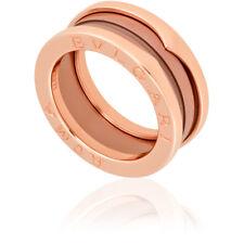 Bvlgari B.Zero1 18K Pink Gold Cermet Ring - Size 56