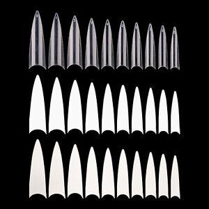 600 PCS Long Stiletto Sharp Nail Art Acrylic False Nail Tips White Clear Natural