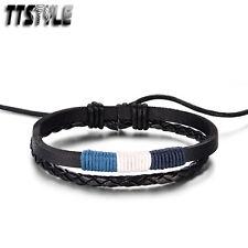 TTStyle Black Leather Blue/White  Bracelet Wristband NEW