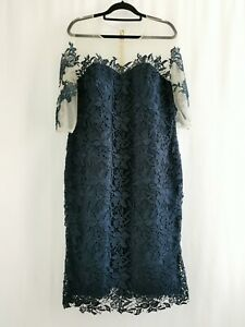 BNWT Veni Infantino Deep Navy Blue Lace Silk Shift Dress Size 20 RRP £440 Formal