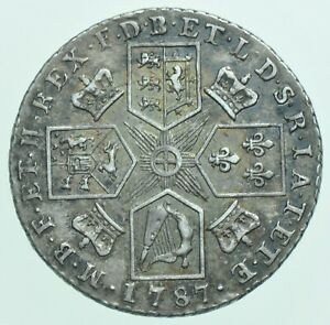 1787 GEORGE III SHILLING, WITH SEMEÉ  OF HEARTS, BRITISH SILVER COIN EF