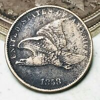 1858 Flying Eagle Cent One Penny 1C Small Letters Civil War Era US Coin CC6558