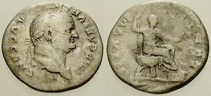 010. Roman Silver Coin. VESPASIAN, AR Denarius. Rome. Emperor std. Fine