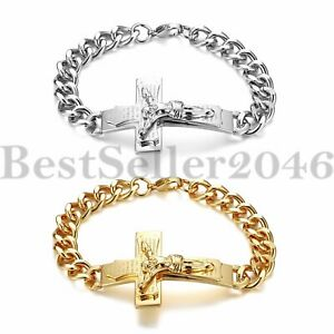 Men Stainless Steel Jesus Crucifix Cross Curb Chain Link Religious Bracelet 8.26