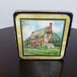 Vintage Pimpernel Coasters English Cottage Set of 6 Acrylic Cork England