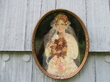 Nice Antique Vintage Framed Folk Art Decoupage Fabric Paper Bride