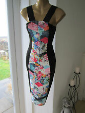 Jane Norman Size 6 Black Floral Low Back LOOK Top Bodycon Shop Dress
