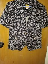 Ladies Ruby Rd size 10, BLACK~ BROWN SINGLE BUTTON V NECK  JACKET - CAREER