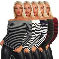 Damen Top Schulterfrei Tunika Shirt Langarm Bluse Pullover gestreift 34/36/38