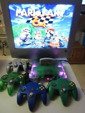 Nintendo N64 Custom LED Mod (Jungle Green) Mario Kart 4 Player Games + RAM Pak