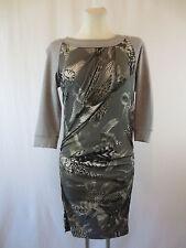 Marc Cain Drapiertes Kleid Etuikleid Gr.38/40 Grau Gemustert Stretch Edel Top