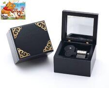 ♫ Winnie The Pooh  ♫  Black Vintage Wooden Mirror Square Music Box