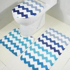 3Piece Blue Striation Styles Bathroom Rug Set Bath Mat Contour Toilet Lid Cover