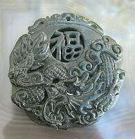 chinesisches drachen amulett dragon dunkelgrüne jade handmade 25,1 g