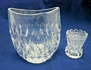Oval Crystal Vase Deep Vertical Cuts Asymmetric Rim Small Pressed Glass Bud Vase