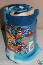 "NEW IN PACKAGE FLEECE THROW DC COMICS SUPERMAN  50""X 60"" BLANKET 100% POLYESTER"