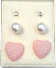 3 Pr Stud Earring ( 1 x Clear Glass, 1 x White Faux Pearl 1 x Peach Hearts )