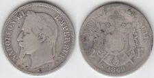 Gertbrolen 2 Francs Argent tête laurée Napoléon III 1869 Strasbourg N° 1