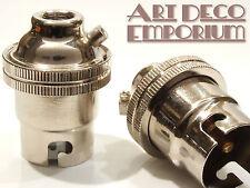 Bulb Holder B22 Silver Nickel Finish with Plain Skirt for Decorative Bulbs