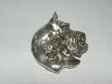 Very Heavy Sterling Silver Schnauzer 3-D Pendant Slide