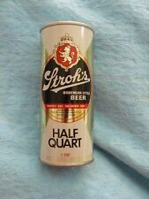 STROH'S BOHEMIAN STYLE BEER CAN - Pull Tab open HALF QUART (16 OZ.) empty STEEL