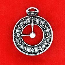 4 x Tibetan Silver Alice in Wonderland Clock Charm Pendant Beading Making