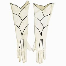 Rare Vintage 1920s Long Topstitched Calfskin Leather Evening Gloves