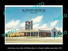 OLD POSTCARD SIZE PHOTO OF ALVIN TEXAS THE PONTIAC CADILLAC CAR DEALER c1950