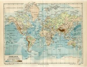 1895 WORLD MAP IN MERCATOR PROJECTION Antique Map