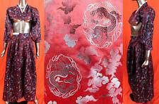 Antique Korean Red Blue Jewel Tone Silk Damask Dragon Hanbok Formal Dress Vtg