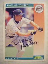 THOMAS HOWARD signed PADRES 1992 Score baseball card AUTO CARDINALS DODGERS REDS