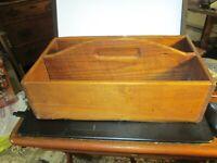Antique Wooden Pine Knife Box Cutlery Carrier Utensil