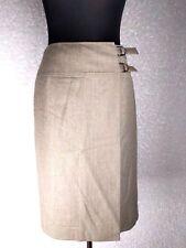 Talbots Wrap Skirt 8 Beige Double Buckle Knee Length Stretch Wool Blend Career