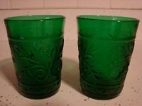 TWO RARE FIRE KING ANCHOR HOCKING FOREST GREEN SANDWICH CRYSTAL JUICE GLASS