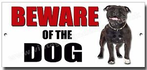 """STAFFORDSHIRE BULL TERRIER """"BEWARE OF THE DOG"""" METAL SIGN,SECURITY,WARNING.blk"""