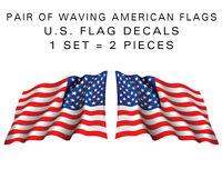 """Large 15"""" Pair - American Flag Waving stickers - die-cut decal USA US VINYL"""