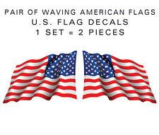 "American Flag Waving stickers-Pair of die-cut decal 6"" military USA US VINYL"