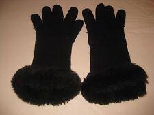 Ladies Black Gloves with Wide Black Faux Fur Trim