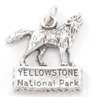 Wolf Charm YELLOWSTONE NATIONAL PARK Pendant 925 STERLING SILVER Howling .925
