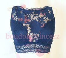 NEW Victorias Secret blue floral lace high neck cutout Bralette Bra Medium M