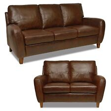 "New Luke Leather Genuine Italian Made ""Jennifer"" Brown Leather Sofa and Loveseat"