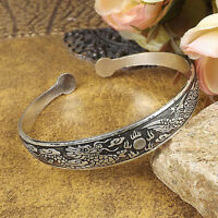 Vintage Tibetan Silver Cuff bangles Carved dragon women Bracelets adjustable 1pc