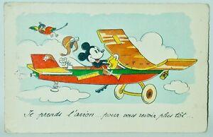 Mickey Mouse In Airplane Postcard Unused Sepheriades Paris France 1930s