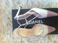 CHANEL light & dark pink leather Slingbacks Shoes in box